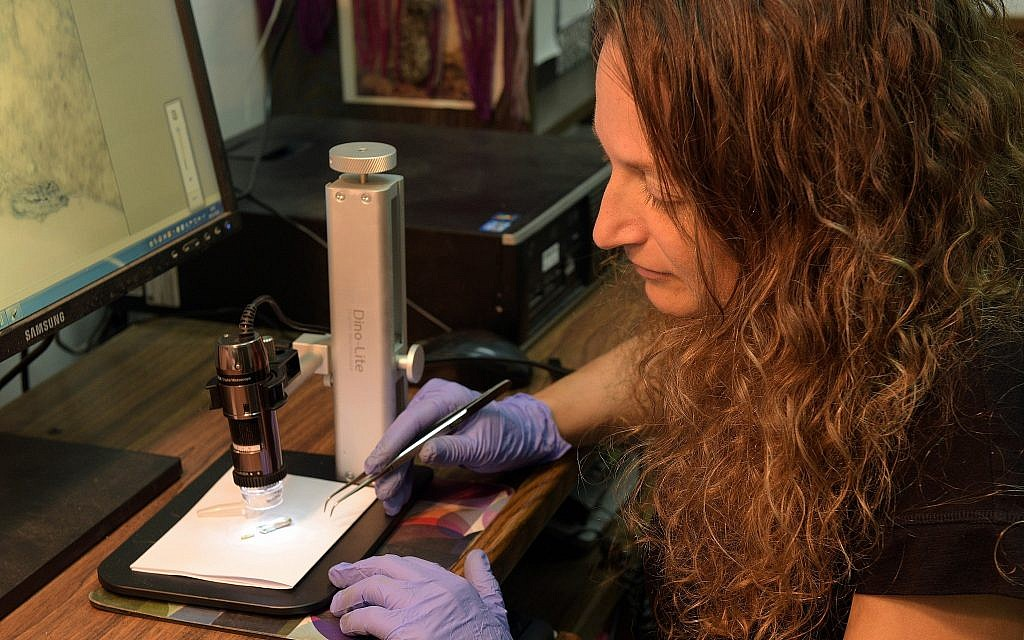 Dr. Naama Sukenik of the Israel Antiquities Authority examines the Byzantine-period flax wick that was used to light lamps some 1,500 years ago, discovered in the 1930s American Colt expedition to the Negev site of Shivta. (Clara Amit, Israel Antiquities Authority)