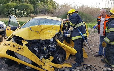 The scene of a car crash in the Eshkol Regional Council on December 9, 2018. (Fire and Rescue Services)