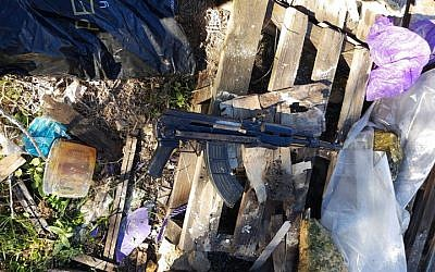 The Kalachnikov rifle used in a terrorist shooting attack on a group of Israeli soldiers and civilians at a bus stop, near the Givat Assaf outpost in the central West Bank, which was recovered by Israeli security forces in December 2018. (Israel Defense Forces)
