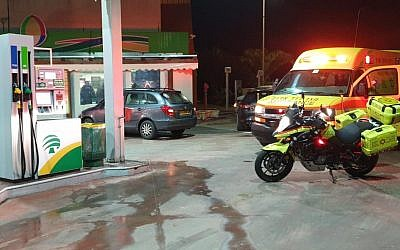 Rescuers at the Dor Alon gas station at Megiddo Junction in northern Israel following a shooting attack police said was criminal in nature, December 18, 2018. (Courtesy Magen David Adom)