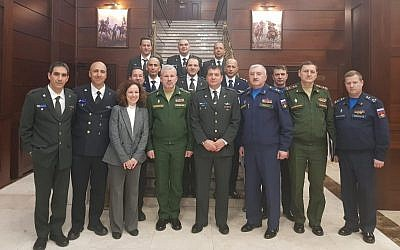Israeli and Russian military delegations meet in Moscow, Russia, December 12, 2018 (IDF Spokesperson's Unit)