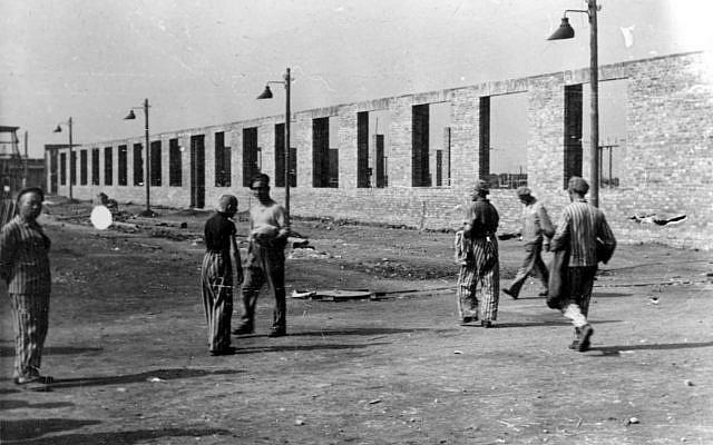 Auschwitz, Poland, 1941: Construction of the Deutsche Ausrustungwerke factory, to the west of Camp 1. (Yad Vashem photo archive, Jerusalem)