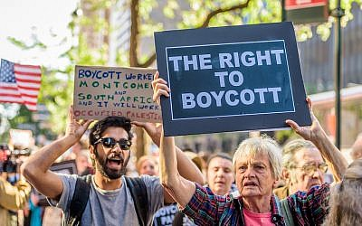 Demonstrators protesting against Israel in New York City, June 2016. (Erik McGregor/Pacific Press/LightRocket via Getty Images)