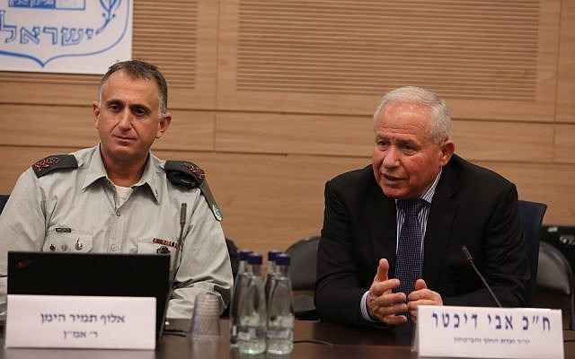 Military Intelligence chief Maj. Gen. Tamir Hyman, left, speaks at the Knesset's powerful Foreign Affairs and Defense Committee next to its chairman MK Avi Dichter on December 11, 2018. (Yitzhak Harari/Knesset)