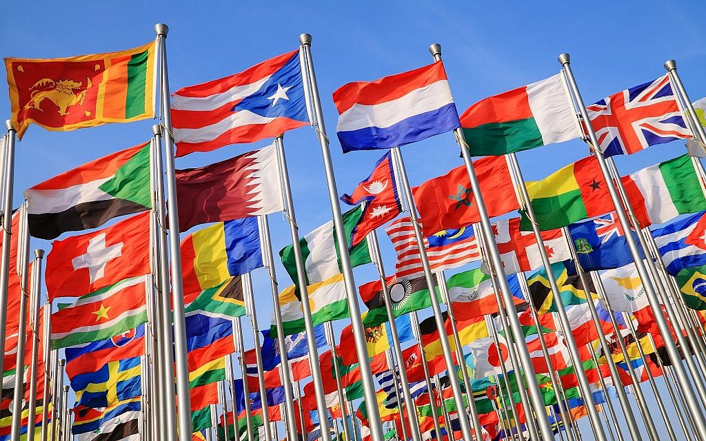 An illustrative image of diplomacy: a photo of national flags from around the world  (123ArtistImages; iStock by Getty Images)