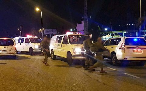 The scene of a shooting attack outside the West Bank settlement of Ofra, on December 9, 2018. (Magen David Adom)