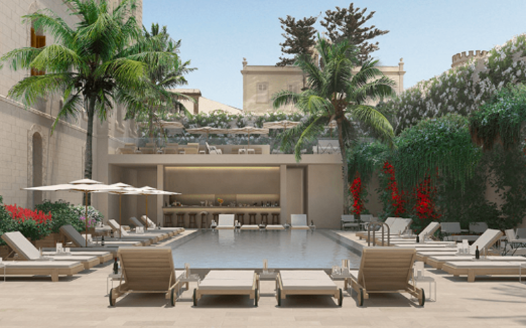 The elegant courtyard pool of The Jaffa, one of Tel Aviv's new, meticulously restored hotels (Courtesy The Jaffa)