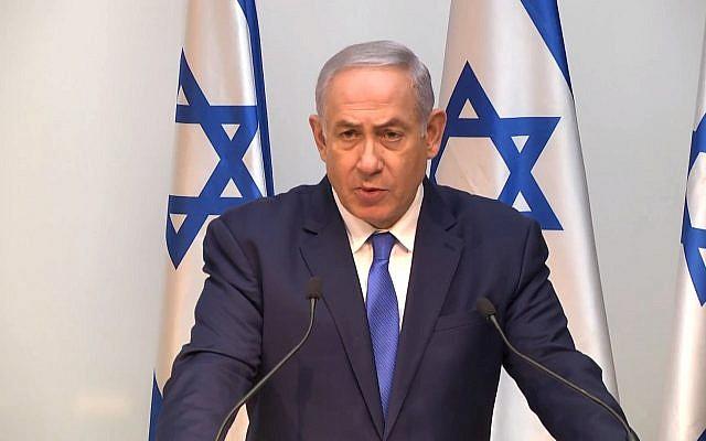 Prime Minister Benjamin Netanyahu addresses the foreign press on December 19, 2018 (screen capture: YouTube)
