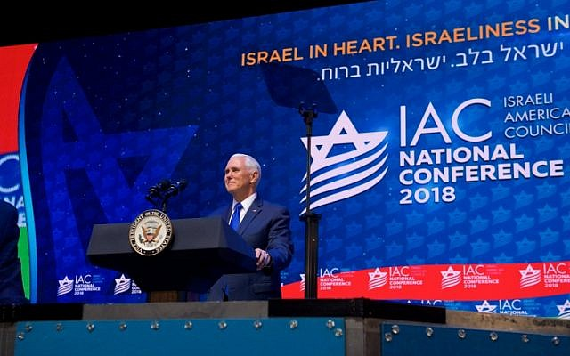 US Vice President Mike Pence addresses the annual conference of the Israeli-American Council in Hollywood, Fla., Nov. 30, 2018 (Perry Bindelglass/Israeli-American Council via JTA)