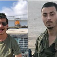 A photo composite shows Sgt. Yosef Cohen (L) and Staff. Sgt Yovel Mor Yosef of the Israel Defense Forces' Kfir Brigade. The two were killed on December 13, 2018, in a terrorist shooting attack outside the Givat Assaf settlement outpost in the central West Bank. (Israel Defense Forces)