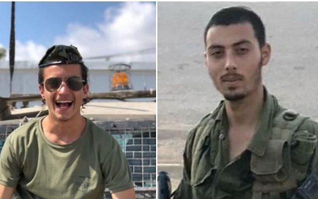 A photo composite shows Sgt. Yosef Cohen (L) and Staff. Sgt Yoval Mor Yosef of the Israel Defense Forces' Kfir Brigade. The two were killed on December 13, 2018, in a shooting attack outside the Givat Assaf settlement outpost in the central West Bank. (Israel Defense Forces)