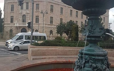 Red dye in the water of a fountain at Paris Square in Jerusalem, December 3, 2018. (Gender Counter-Terrorism Unit)