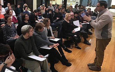 Illustrative: A class in March 2016 at Romemu, the Jewish Renewal congregation in New York. (Scott Osman via JTA)