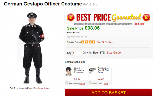 A Nazi Gestapo officer costume is seen on sale on the Escapade website (screenshot)