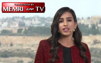 Palestine TV's Dana Abu Shamsiya praises an assailant who stabbed three Israeli policemen (Courtesy MEMRI)