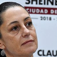 Claudia Sheinbaum, the first Jewish mayor of Mexico City, speaks during a press conference in Mexico City, Aug. 1, 2018. (Carlos Tischler/Getty Images via JTA)