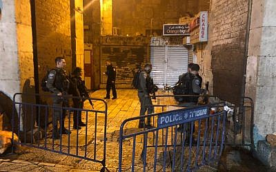The scene of a stabbing attack in Jerusalem's Old City on December 13, 2018. (Police Spokesperson)