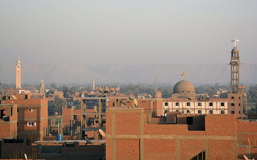 Church spires dot the skyline of the Coptic Christian town of El Kosheh, Egypt. (RNS photo/ Fady Hadny)