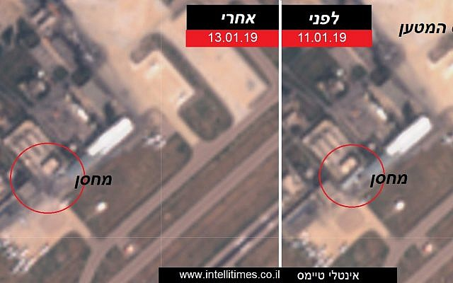 Satellite photos published on January 13, 2019 showing an alleged Iranian weapons depot at the Damascus International Airport in Syria (R) on January 11, and the same structure demolished on January 13 after an Israeli airstrike. (Intelli Times)