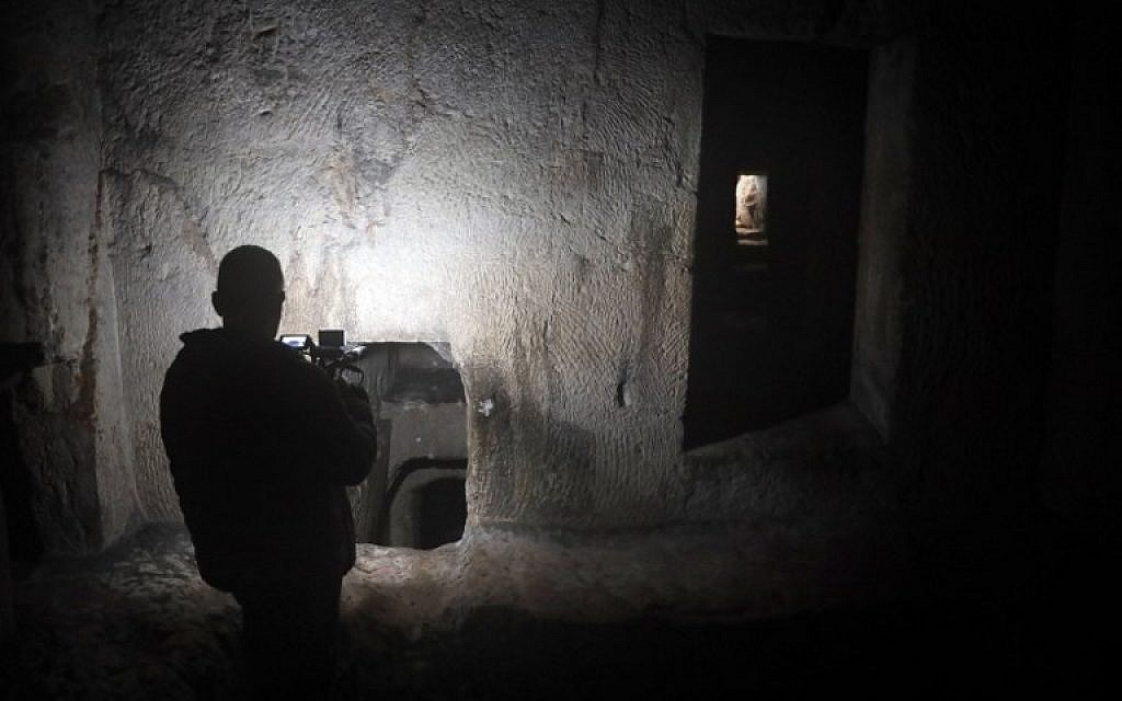 One of the several burial chambers of the Tomb of the Kings in East Jerusalem. (Thomas Coex/AFP)