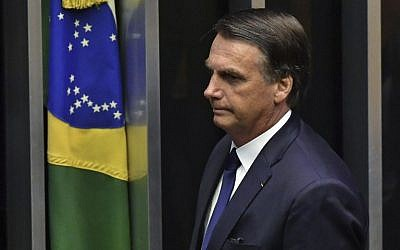 Brazil's newly sworn-in President Jair Bolsonaro is pictured during his inauguration ceremony, at the Congress in Brasilia on January 1, 2019.  (NELSON ALMEIDA / AFP)