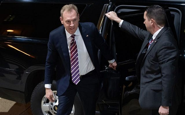 Acting US Secretary of Defense Patrick Shanahan, arrives for his first day in his new job at the Pentagon in Washington, DC, January 2, 2019. (Photo by SAUL LOEB / AFP)