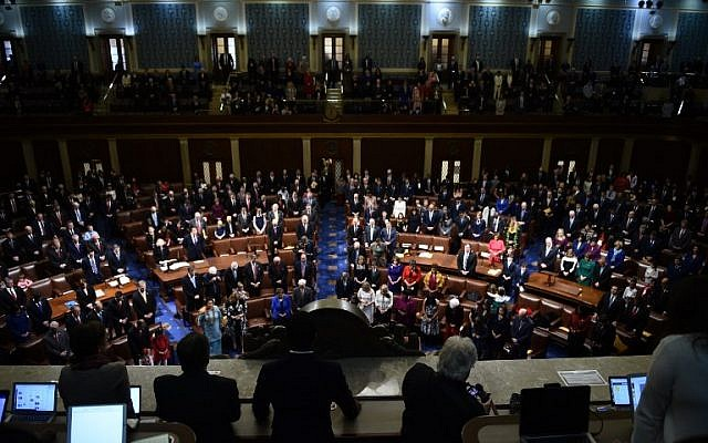 Members of Congress arrive before the start of the 116th Congress and swearing-in ceremony on the floor of the US House of Representatives at the US Capitol on January 3, 2019, in Washington, DC. (Brendan Smialowski/AFP)