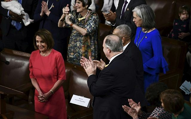 Nancy Pelosi reacts as she is confirmed Speaker of the House during the 116th Congress and swearing-in ceremony on the floor of the US House of Representatives at the US Capitol on January 3, 2019 in Washington, DC. (Brendan Smialowski/AFP)