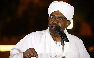 Sudanese President Omar al-Bashir delivers a speech at the presidential palace in the capital Khartoum on January 3, 2019. (Ashraf Shazly/AFP)