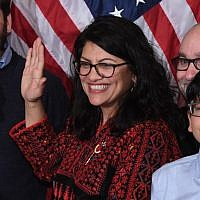 US House Representative Rashida Tlaib participates in a ceremonial swearing-in at the start of the 116th Congress at the US Capitol in Washington, DC, January 3, 2019. (SAUL LOEB/AFP)