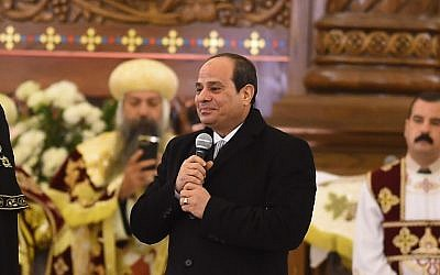 Egyptian President Abdel Fattah al-Sissi,  speaks during the inauguration of the massive Cathedral of the Nativity of Christ in Egypt's New Administrative Capital (45 kilometers or 28 miles east of Cairo), on January 6, 2019. (MOHAMED EL-SHAHED / AFP)