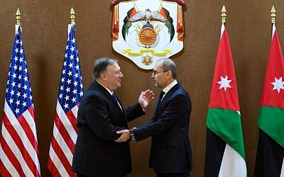 US Secretary of State Mike Pompeo (L) meets with Jordanian Foreign Minister Ayman Safadi in Amman on January 8, 2019. (ANDREW CABALLERO-REYNOLDS / POOL / AFP)