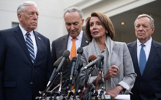 US House Speaker Nancy Pelosi (2nd R), Senate Minority Leader Chuck Schumer (2nd L), House Democratic Whip Steny Hoyer (L) and Senate Democratic Whip Dick Durbin (R) speak to the media following a meeting with US President Donald Trump at the White House about the partial government shutdown, on January 9, 2019. (Saul Loeb/AFP)