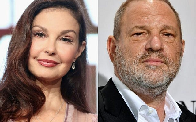 This combination of file pictures created on July 18, 2018 shows US actress Ashley Judd (L) speaking at the 2017 Summer Television Critics Association Press Tour in Los Angeles on July 24, 2017, and US film producer Harvey Weinstein on the sidelines of the 70th Cannes Film Festival in Antibes, France, on May 23, 2017. (Photos by Frederick M. Brown and Yann COATSALIOU / various sources / AFP)