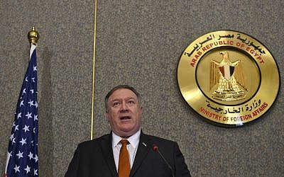 US Secretary of State Mike Pompeo at the ministry of foreign affairs in Cairo