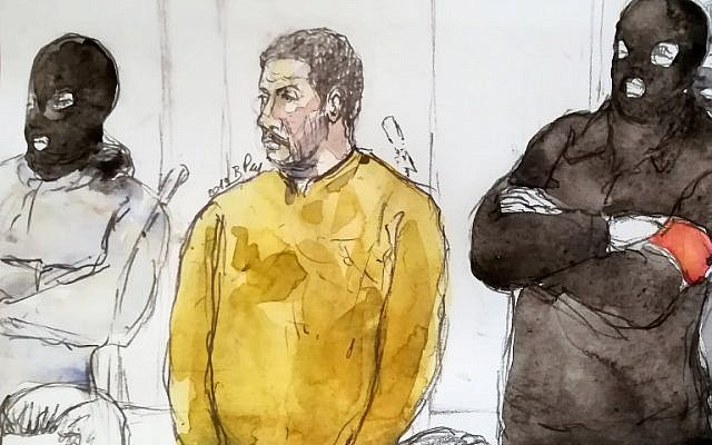 A court sketch made on January 10, 2019 shows Mehdi Nemmouche (C), accused of the terrorist attack at the Jewish Museum in Brussels in 2014, during his trial at the Brussels Justice Palace. (Benoit PEYRUCQ / AFP)