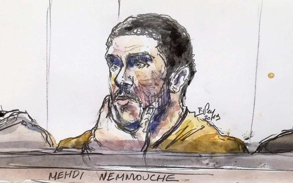 A court sketch made on January 10, 2019, shows Mehdi Nemmouche, accused of the terrorist attack at the Jewish Museum in Brussels in 2014, during his trial at the Brussels Justice Palace. (Benoit Peyrucq/AFP)