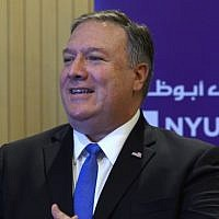 US Secretary of State Mike Pompeo speaks to students at the NYU Abu Dhabi campus in Abu Dhabi on January 13, 2019. (Photo by ANDREW CABALLERO-REYNOLDS / POOL / AFP)