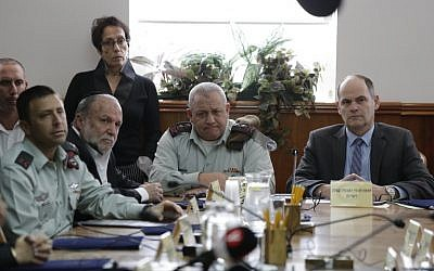 Illustrative: IDF Chief of Staff Gadi Eisenkot (C) participates in weekly cabinet meeting in Jerusalem on January 13, 2018. (Ariel Schalit / Pool / AFP)