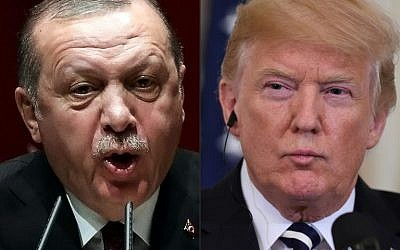 This combination of file pictures created on August 11, 2018 shows Turkish President Recep Tayyip Erdogan (L) deliverling a speech during an AK party's group meeting at the AK Party's headquarters in Ankara, on January 26, 2018; and  US President Donald Trump (R) during a joint press conference with Italian Prime Minister Giuseppe Conte in the East Room of the White House in Washington, DC, July 30, 2018. - US President Donald Trump warned Turkey on Sunday, January 13, 2019 of economic devastation if it attacks Kurdish forces in the wake of the US troop pullout from Syria(Photos by ADEM ALTAN and SAUL LOEB / AFP)