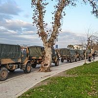 A Turkish military convoy at Kirikhan, in Hatay region at the Syria border, on January 12, 2019. (STRINGER / DHA / AFP)