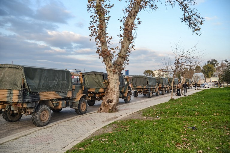 A Turkish military convoy at Kirikhan in Hatay region at the Syria border