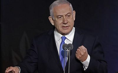 Prime Minister Benjamin Netanyahu speaks during a handover ceremony for the new IDF chief of staff on January 15, 2019, at the Defense Ministry headquarters in Tel Aviv. (Jack Guez/AFP)