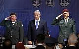 Outgoing IDF Chief of Staff Lt. Gen. Gadi Eisenkot (left), Prime Minister Benjamin Netanyahu and the incoming chief Aviv Kochavi (right) take part in a handover ceremony on January 15, 2019 at the Defense Ministry headquarters in Tel Aviv.  (JACK GUEZ/AFP)