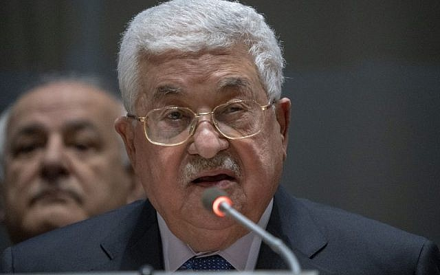 Palestinian Authority President Mahmoud Abbas addresses the Group of 77 on January 15, 2019 at the United Nations in New York (Don Emmert/AFP)