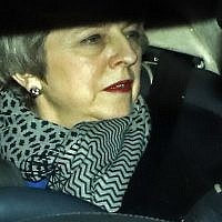 Britain's Prime Minister Theresa May leaves 10 Downing Street to attend a vote of no confidence in her Government, in the House of Commons in London on January 16, 2019. (Tolga Akmen/AFP)