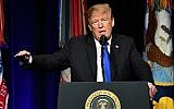 US President Donald Trump speaks during the Missile Defense Review announcement at the Pentagon in Washington, DC, on January 17, 2019 (MANDEL NGAN / AFP)