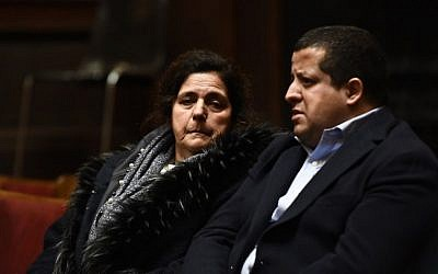Annie Adam (L), mother of victim Alexandre Strens, is pictured during a session in the trial regarding the terrorist attack at the Jewish Museum, at the courthouse in Brussels on January 18, 2019 (Dirk WAEM / various sources / AFP)