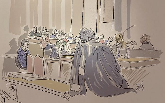 A court sketch made on January 22, 2019 at the Brussels Justice Palace, shows people watching video images during the trial of French jihadist Mehdi Nemmouche, accused of shooting four people dead at a Jewish museum in Brussels on May 24, 2014, allegedly the first Syria jihad veteran to stage a terror attack in Europe. (Igor Preys/BELGA/AFP)