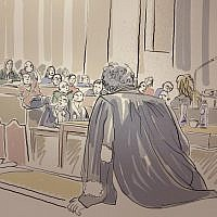 A court sketch made on January 22, 2019, at the Brussels Justice Palace, shows people watching video images during the trial of Frenchman Mehdi Nemmouche, accused of shooting four people dead at a Jewish museum in Brussels. (Igor Preys/Belga/AFP)